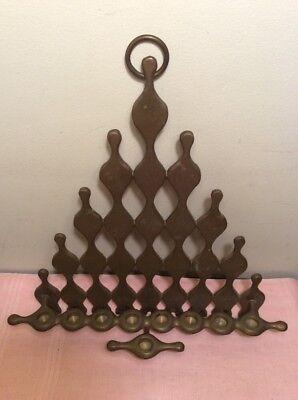 """Vintage Jewish Gold Tone Hanging Oil Lamp Menorah Hanukkah Judaica 13"""" Marked"""