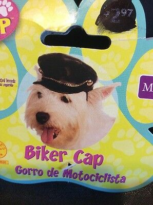 Dog Halloween Costume Faux Leather Motorcycle Biker Black Cap - Dog Biker Halloween Costumes