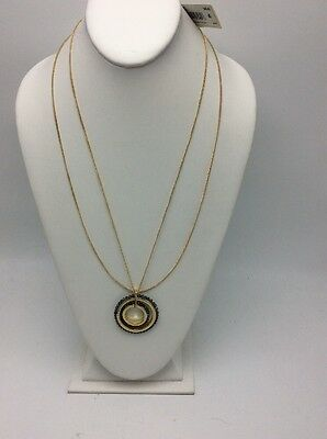 $48 Kenneth Cole Woven Faceted Bead Double Circle Pendant Long Necklace KC28 Woven Circle Pendant