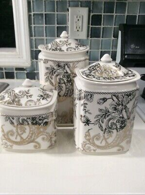 222Fifth Adelaide Gold Bird Canister Set With Lids