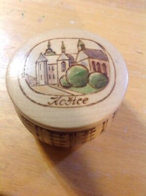 Vintage Wooden Trinket Container Bowl Box - Lid