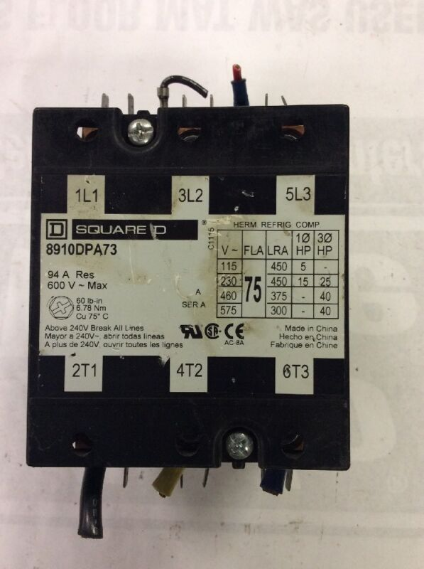 Square D 8910 DPA73 600V 75A 3 Pole Contactor