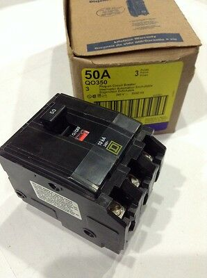 Square D Qo350 Plug-in Circuit Breaker 3 Pole 50 Amp 240v New Box Of 3