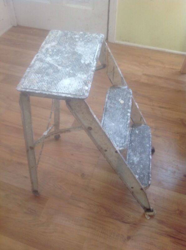 Vintage Mid Century Metal Folding Step Stool Ladder Kitchen Garage Chair Seat