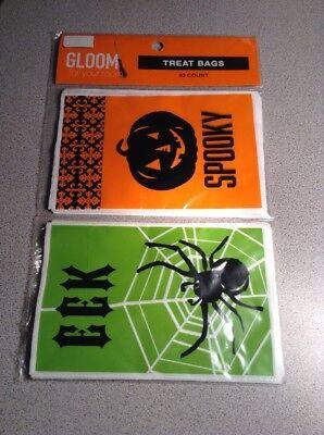 NEW GLOOM EEK Spider Spooky 80 pcs TREAT BAGS Party HALLOWEEN Sacks Ties ](Spider Sack Halloween)