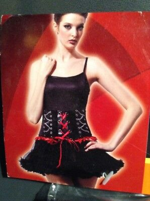 ADULT HALLOWEEN COSTUME RED CORSET SIZE MEDIUM BLACK AND RED WITH LACES