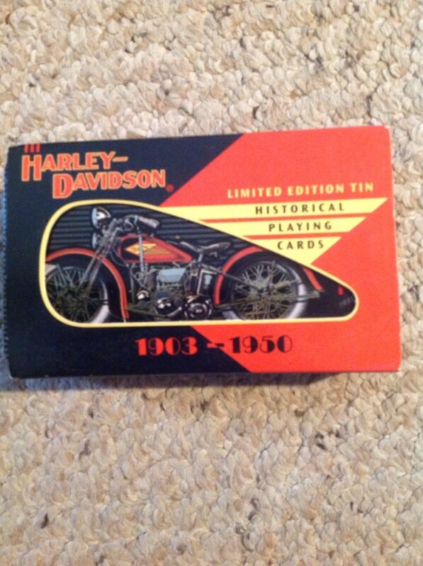 Harley Davidson Set Of 2 Decks Historical Playing Cards In Limited Edition Tin.
