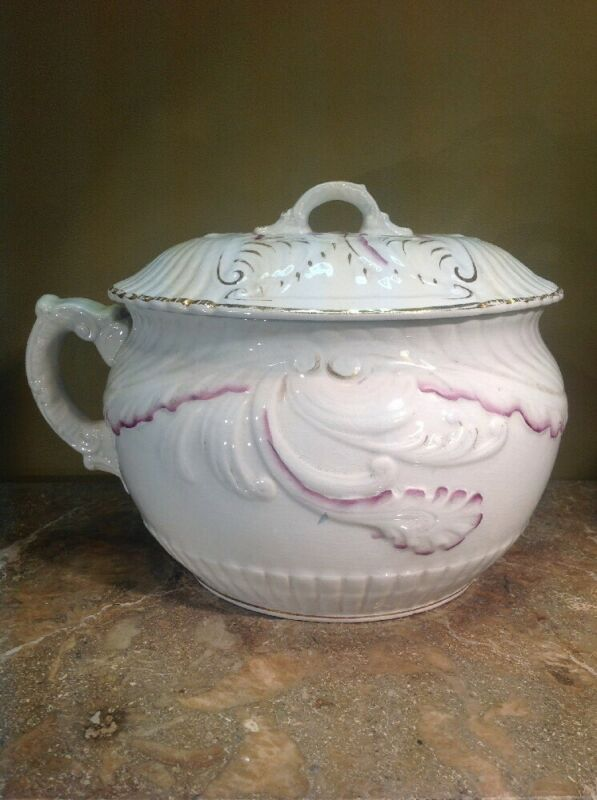 Rare Antique Chamber Pot With Matching Lid