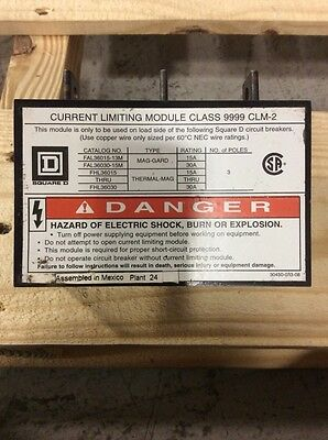 Square D Current Limiting Module Class 9999 Clm-2 15-30 Amp