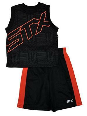 T.50STX Boys Black & Orange 2pc Mesh Short Set Size 2T 3T 4T 4 5/6 7 ()