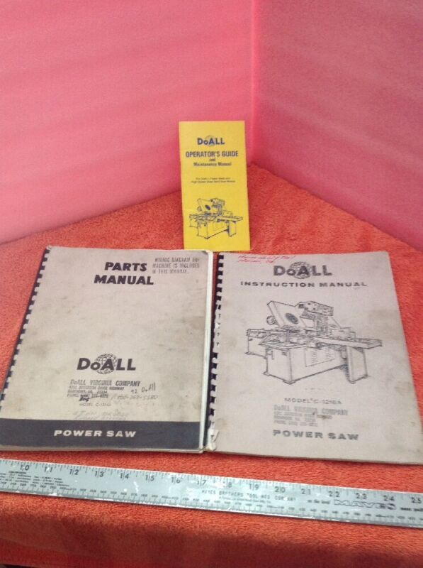 Doall Manuals For Model C-1216A Horizantal Saw