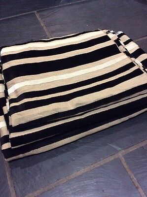 3 Huge Remnants 4m+ Black Cream Stripe Sculptured Velvet Fabric FREE POSTAGE