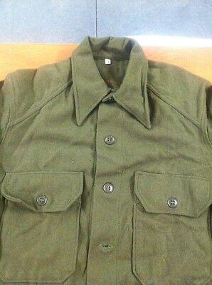 VTG 1952 US MILITARY WOOL FIELD SHIRT KOREAN WAR ERA OLIVE GREEN JACKET 108