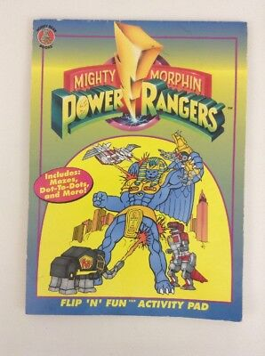 Mighty Morphin Power Rangers Coloring Book Flip N Fun Activity Pad Vintage 1994