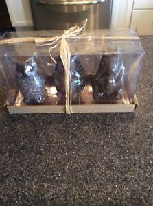 set of 3 animal candles, nib