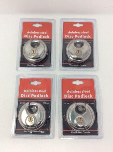 keyed alike lot of 4 DISC PADLOCK 70mm Steel Armor Storage Trailer Lock