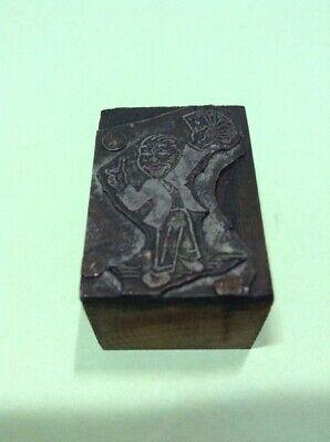Vintage Metal On Wood Printing Block- Card Shark Or Magician
