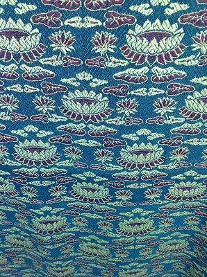 Vintage Cotton Throw Meditation Shawl  Lotus Flower Green & Gold 52x80