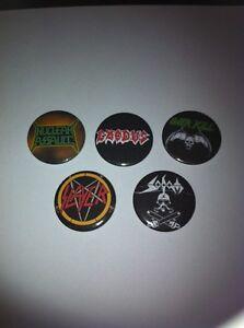 5 Thrash Metal pin button badges Sodom Slayer Exodus Over Kill Nuclear Assault