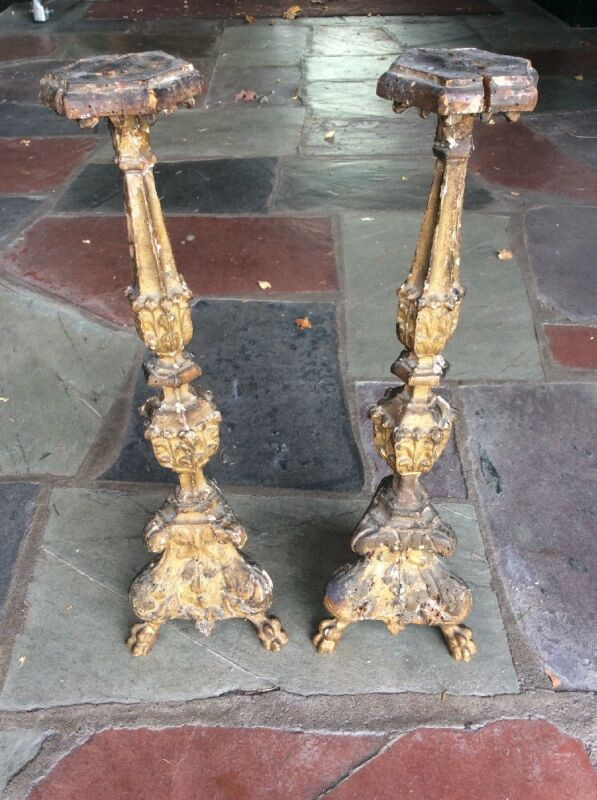 Antique Pair Of 18th Century Gothic Carved Wood Gilt Pricket Candlesticks 21""