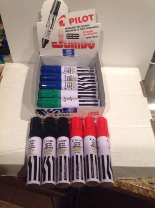 Pilot SC-6600 Jumbo Permanent Markers Asst. Colors 6pk (2 Black, 2 Blue, 2 Red)