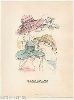 Art Déco-Mode-Hüte-Hut-Pochoirkolorit-Lithographie aus Styl 1922