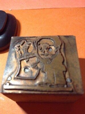Copper On Wood Printing Block Retro Caricature