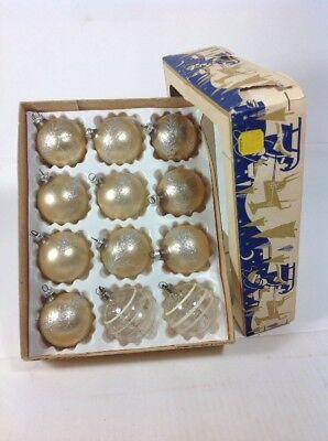 "Vintage West Germany 2"" Mercury Glass Balls Flock & Stripe Christmas Ornaments"