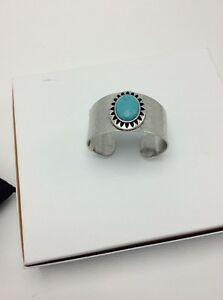 49-Lucky-Brand-Blue-Stone-Wide-Cuff-Silver-Tone-Bracelet-L71