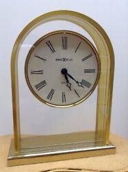 "Works!! Howard Miller Curved Top Reminisce Table Clock Brass Glass 7.25"" Quartz"