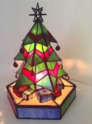Stained Glass Lighted Christmas Tree Deco Holiday Seasonal Presents