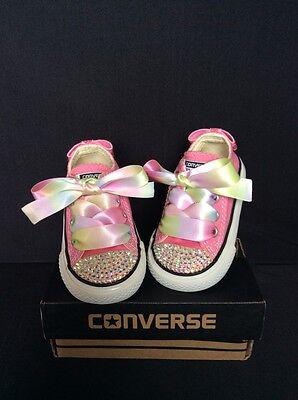 Crystal Custom Converse Pink Bling Baby/Toddler uk Infant Size 3