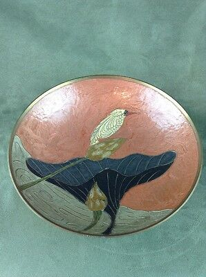 Kingfisher Brass Enamel Bird Accent Bowl Table Decor Planter India