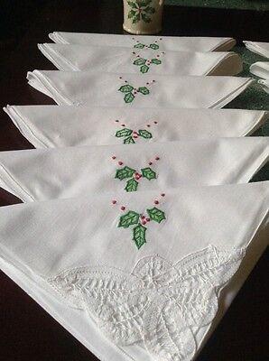 """12 Cloth Napkins Christmas  100% Cotton White 18""""X18"""""""