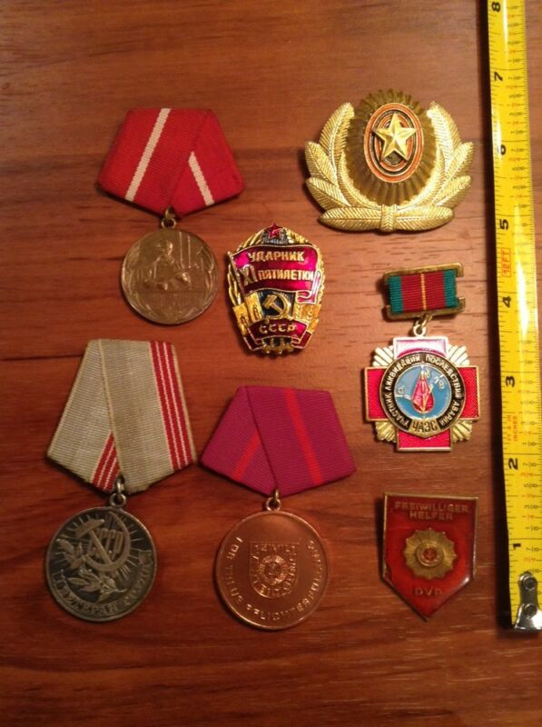 Russian CCCP Medal Pin lot Military Hammer Sickle Soviet Uniform Hat Clip Russia