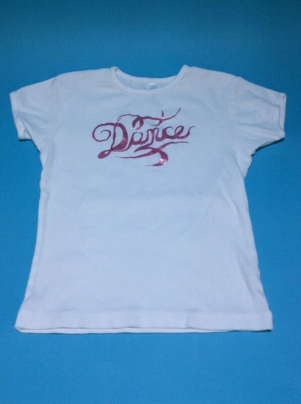 """Bella Girl """"Dance"""" T-shirt White With Pink Glittery Vinyl Youth Dancer Warmup"""