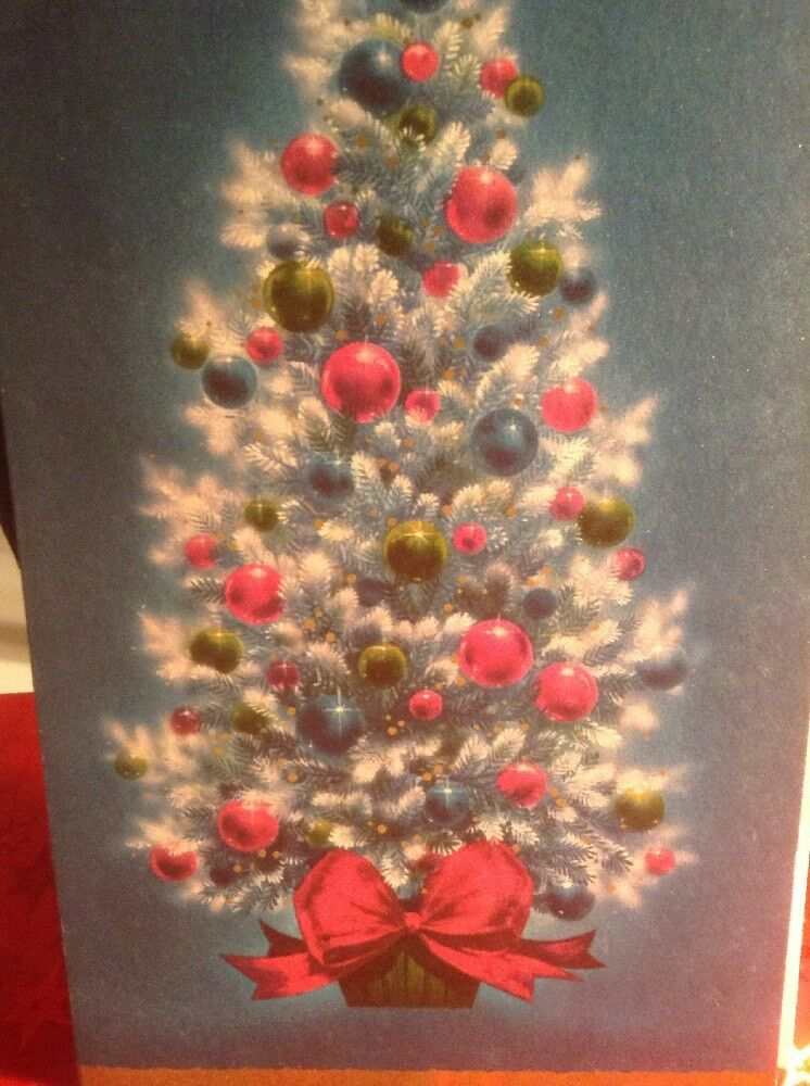 vintage christmas greeting card turquoise and pink