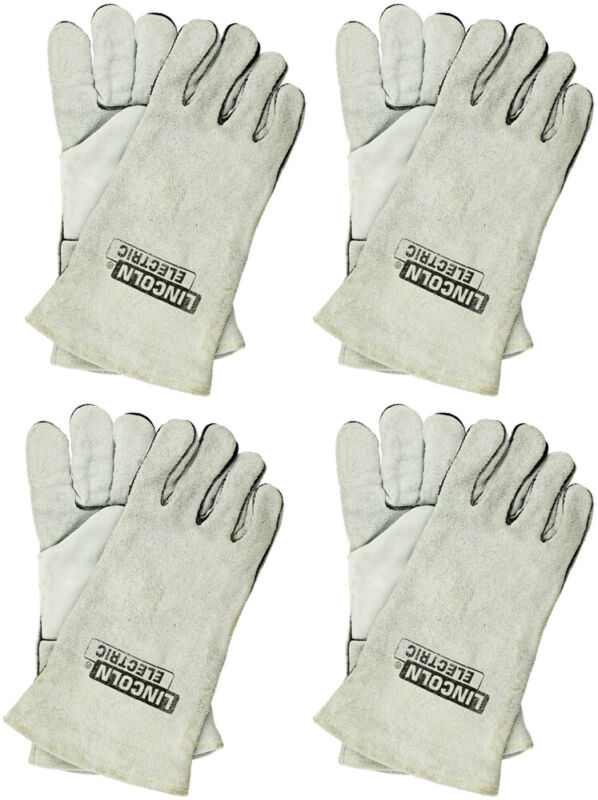 (4-Pairs) - Lincoln Electric Large Cloth-Lined Leather Welding Gloves