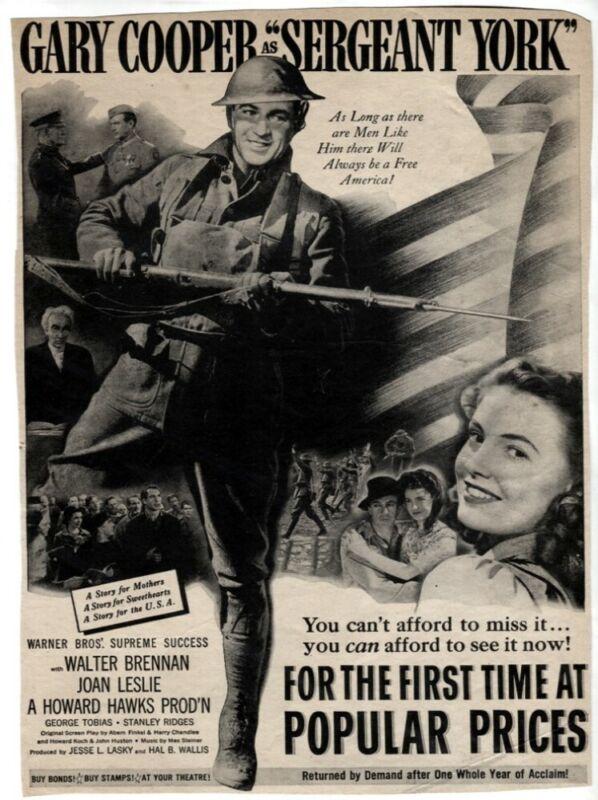 Sergeant York 1941 Movie Ad Gary Cooper Walter Brennan VTG Magazine Print ad