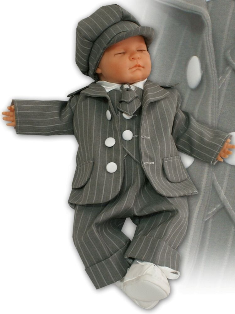 Baby Boy Striped Grey Suit Set Waistcoat Special Occasion