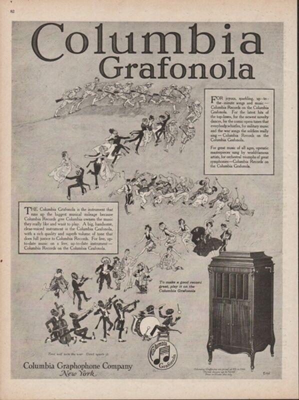 1918 Black Americana Jazz Band Columbia Grafonola Graphophone Phonograph Ad