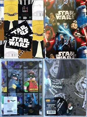 50 x Hallmark Wrapping Paper Packs -Star Wars & Lego Batman - Joblot Clearance