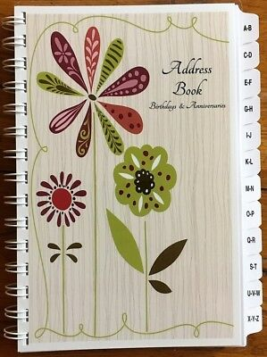 Large Print Address Book Birthday Anniversary Calendar Family Record Book Tabs