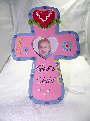 Pink Frame, Christian Cross, Heart Opening For Photo, Cute For Baby Picture