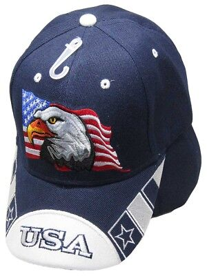 Waving USA American Bald Eagle White Bill Navy Blue Embroidered Cap CAP679 Hat - White Bald Cap