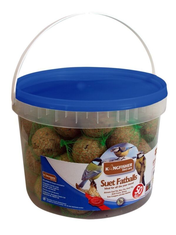 Kingfisher+Wild+Bird+Feed+Tub+of+50+Fat+Balls+in+Resealable+Pack