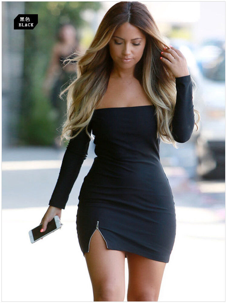2017Sexy Women Casual Summer Long Sleeve Party Evening Cocktail Short Mini Dress