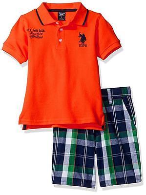 U.S. Polo Assn Big Boys S/S Orange Polo 2pc Plaid Short Set 8 10 12 $44