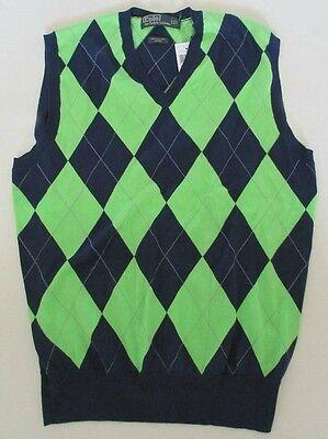 NWT Polo Ralph Lauren V-Neck Vest Argyle Navy/Green 100% Cotton Size S