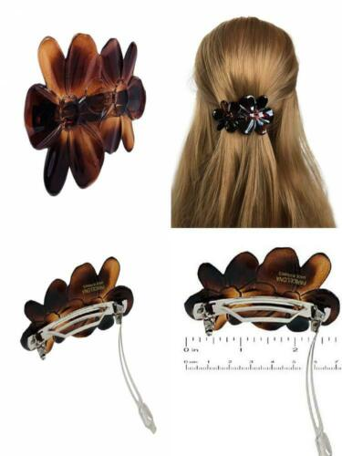 Parcelona French Oval Wide Large Set of 2 Shell Brown Black Hair Clip Barrette